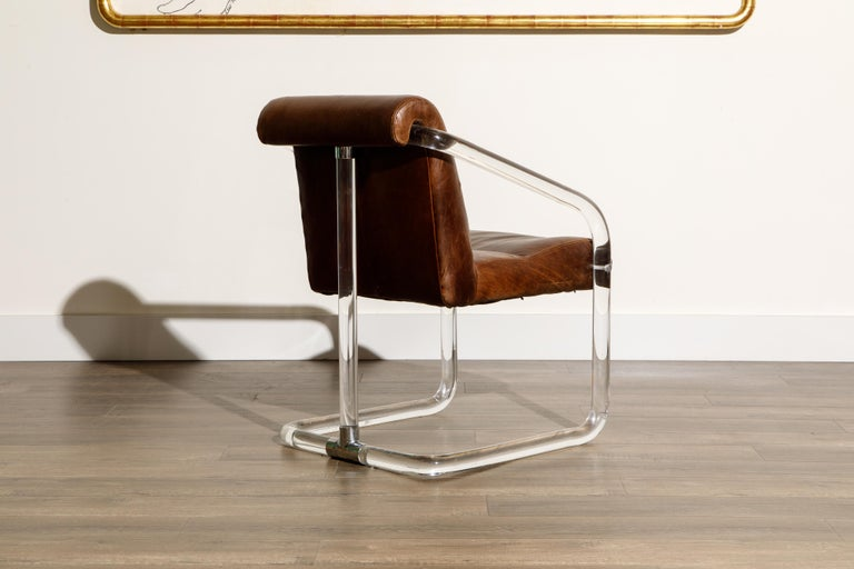 Pair of Lucite and Thick Leather Armchairs by Lion in Frost, c. 1970s Signed For Sale 2