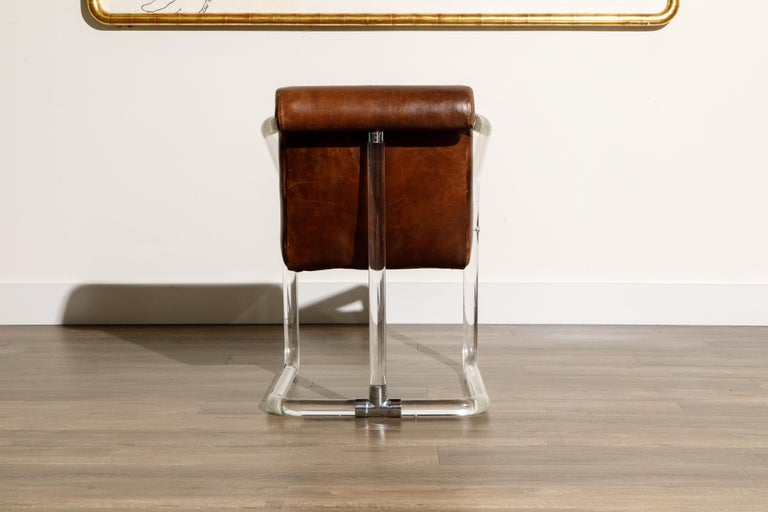 Pair of Lucite and Thick Leather Armchairs by Lion in Frost, c. 1970s Signed For Sale 3
