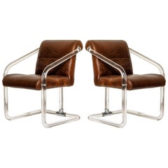 Pair of Lucite and Thick Leather Armchairs by Lion in Frost, c. 1970s Signed