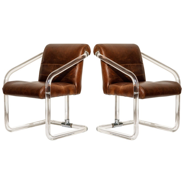 Pair of Lucite and Thick Leather Armchairs by Lion in Frost, c. 1970s Signed For Sale