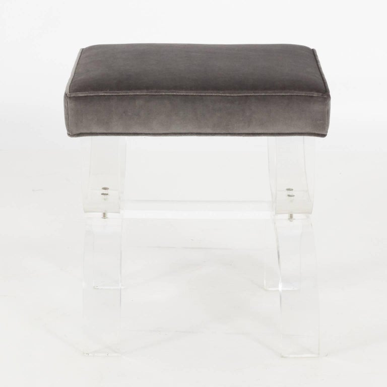 Velvet Pair of Lucite Benches by Hill Manufacturing, circa 1970 For Sale