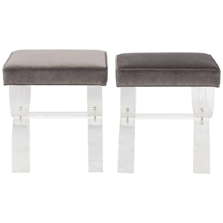 Pair of Lucite Benches by Hill Manufacturing, circa 1970 For Sale