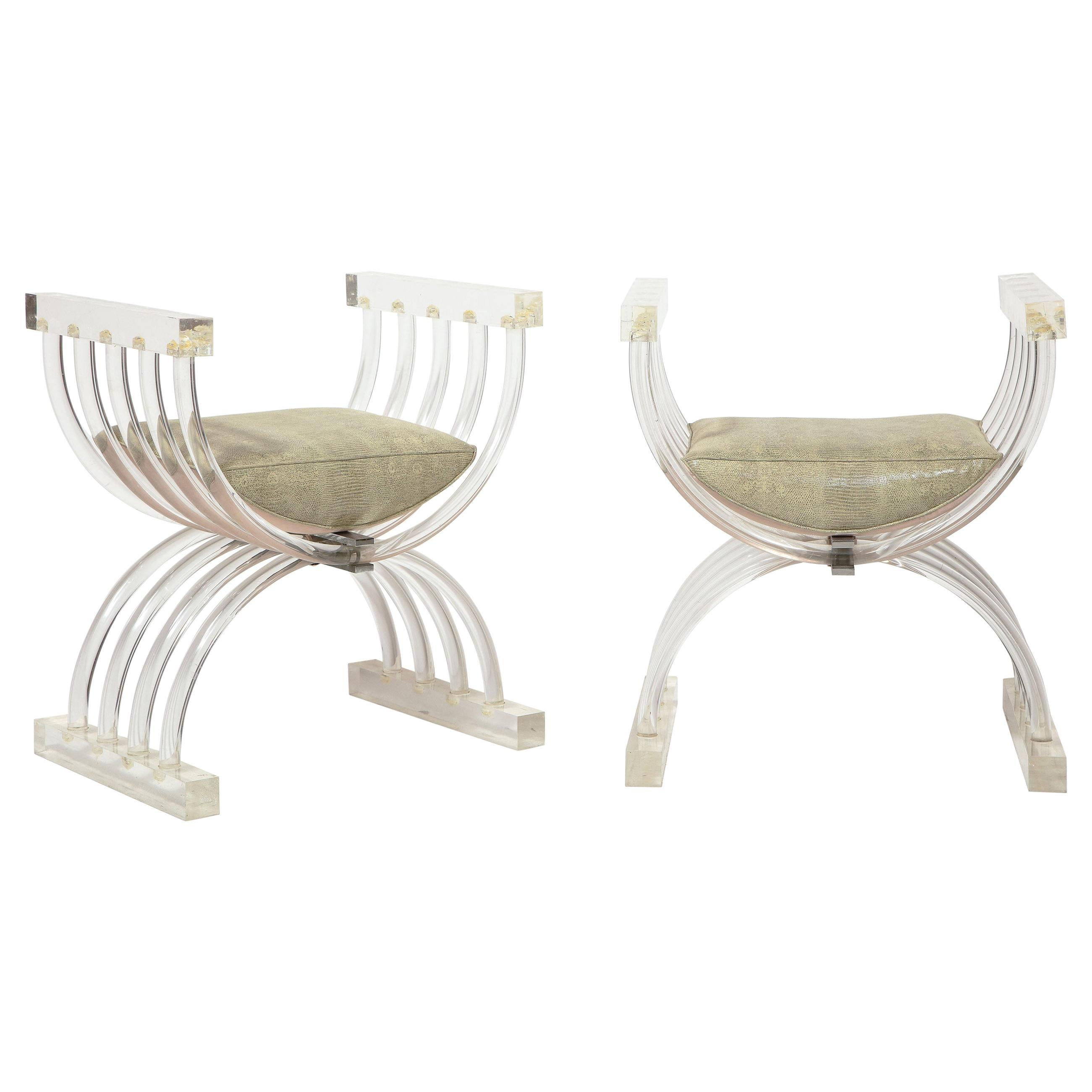 Pair of Lucite Benches