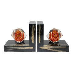 Pair of Lucite Bookends Ukraine Pysanka Easter Egg and Wheat