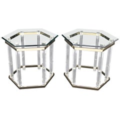 Pair of Lucite Brass and Glass Hexagon Shape End Side Tables