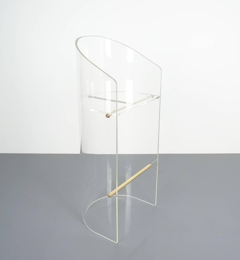 Pair of Lucite Brass Bar Stools Style Charles Hollis Jones, 1960 5