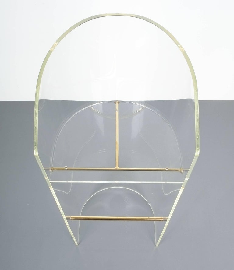 Pair of Lucite Brass Bar Stools Style Charles Hollis Jones, 1960 6