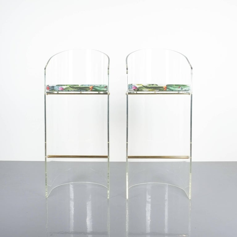 Hollywood Regency Pair of Lucite Brass Bar Stools Style Charles Hollis Jones, 1960