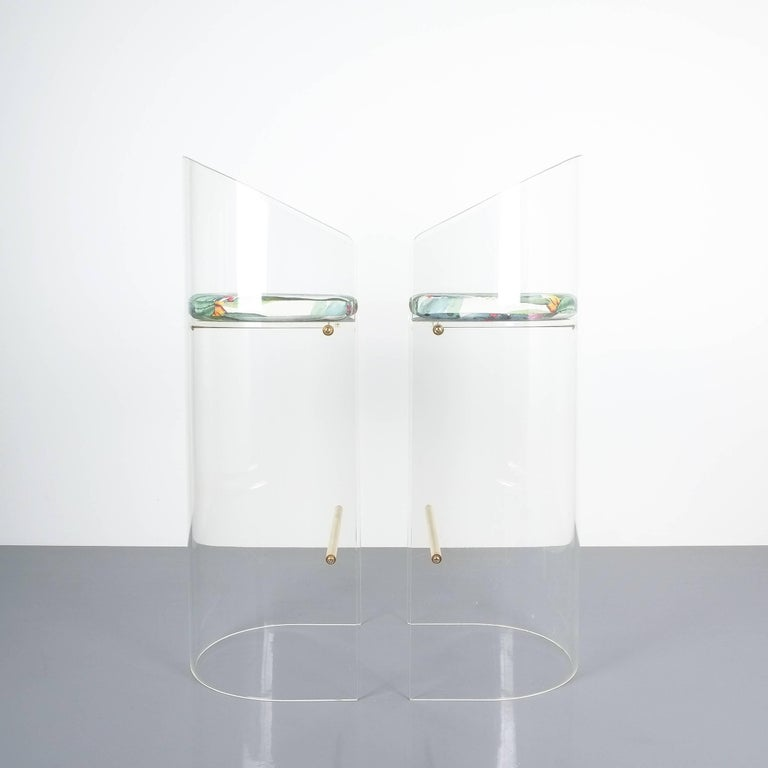 Pair of Lucite Brass Bar Stools Style Charles Hollis Jones, 1960 1