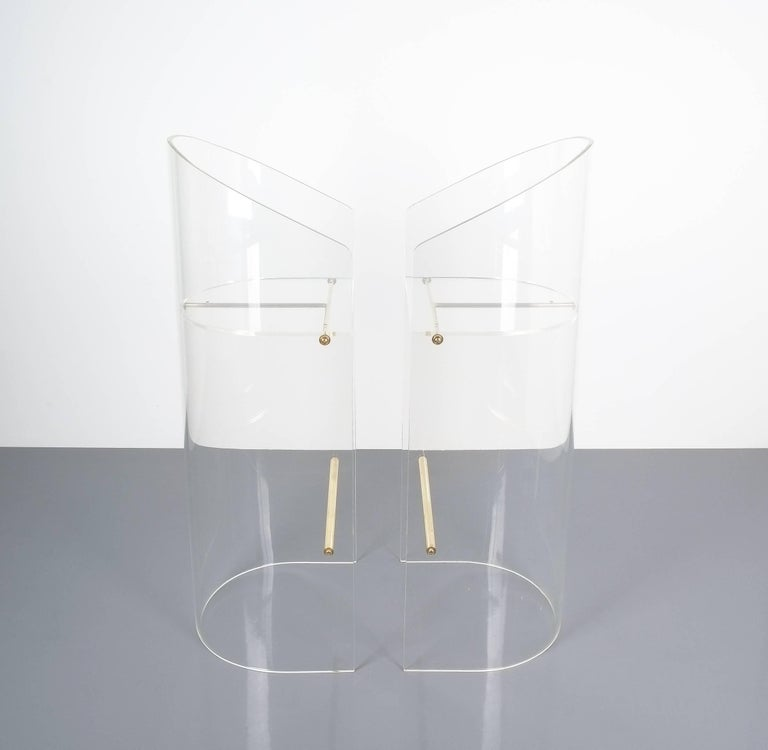Pair of Lucite Brass Bar Stools Style Charles Hollis Jones, 1960 2