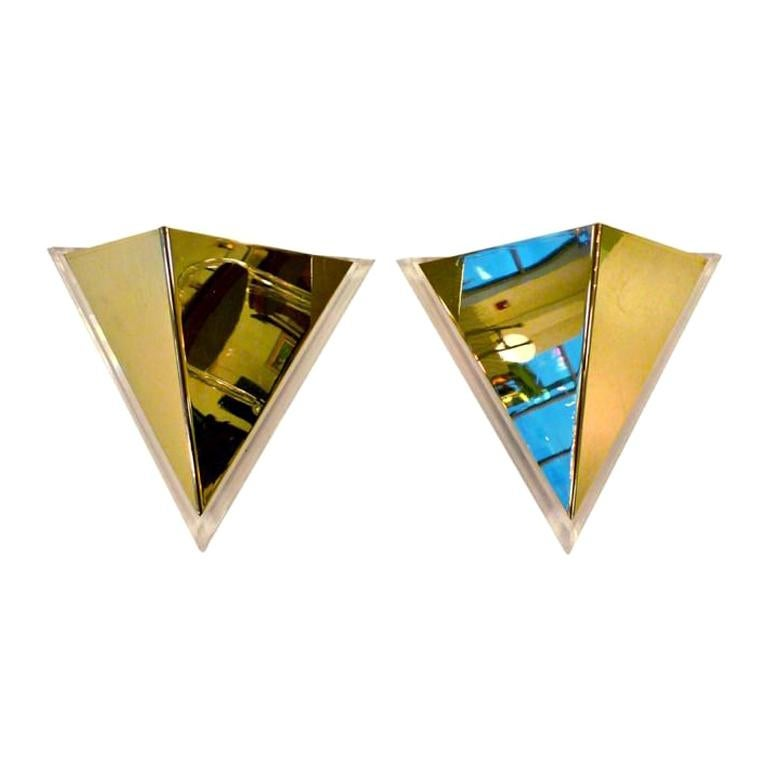 Pair of Lucite & Brass Pyramidal Wall Sconces For Sale