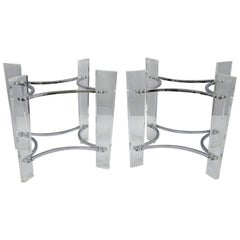 Pair of Lucite & Chrome Sculptural Mid-Century Modern End Table Bases