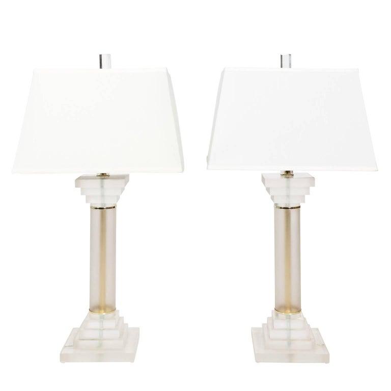 Pair of Lucite Column Lamps, circa 1970s