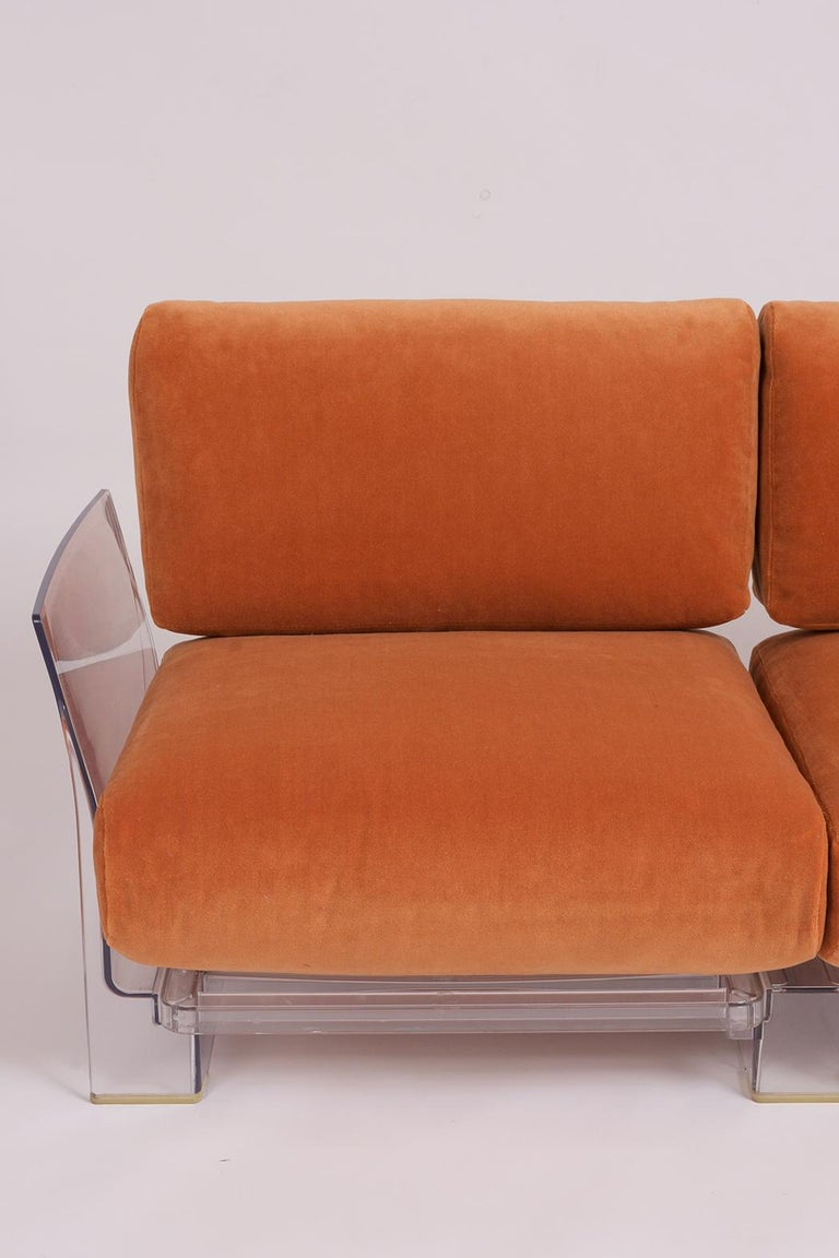 Pair of Lucite Loveseats or Sofas by Piero Lissoni for Kartell In Good Condition For Sale In Los Angeles, CA