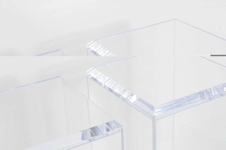 American Pair of Lucite Pedestals by Iconic Snob Galeries