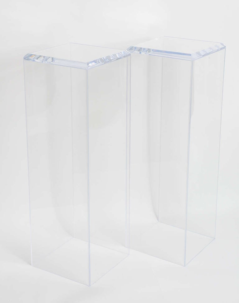 Polished Pair of Lucite Pedestals by Iconic Snob Galeries