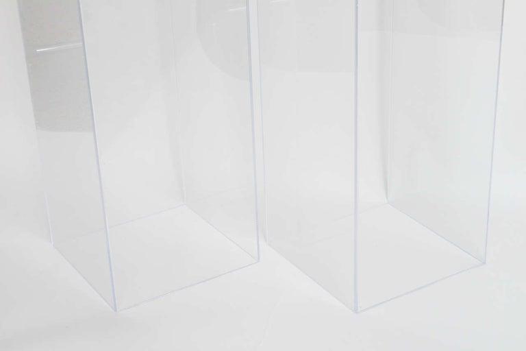 Contemporary Pair of Lucite Pedestals by Iconic Snob Galeries