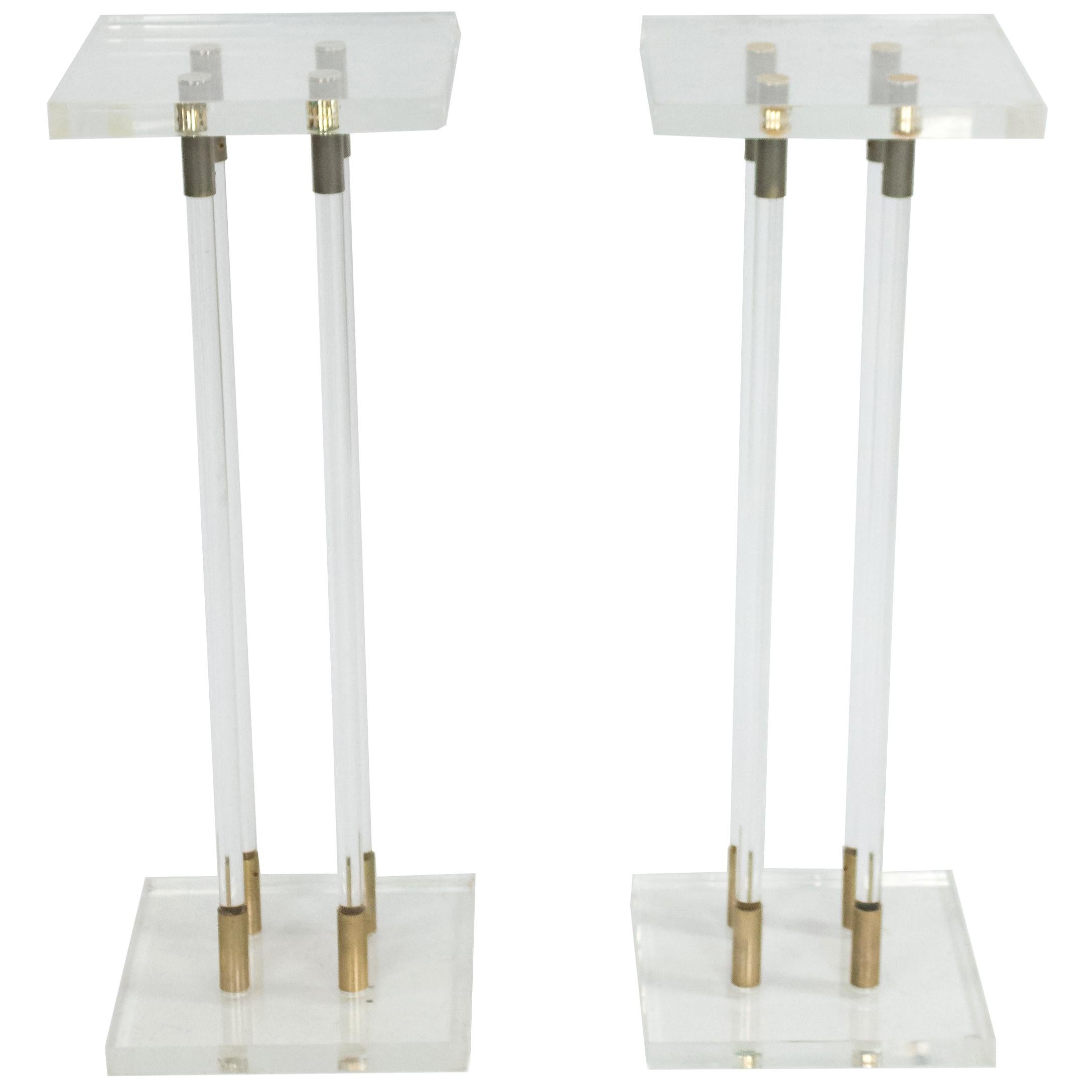 Pair of Lucite Pedestals with Gilt Metal Detail