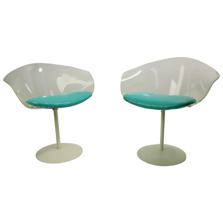 Pair of Lucite Shell Swivel Chairs For Sale