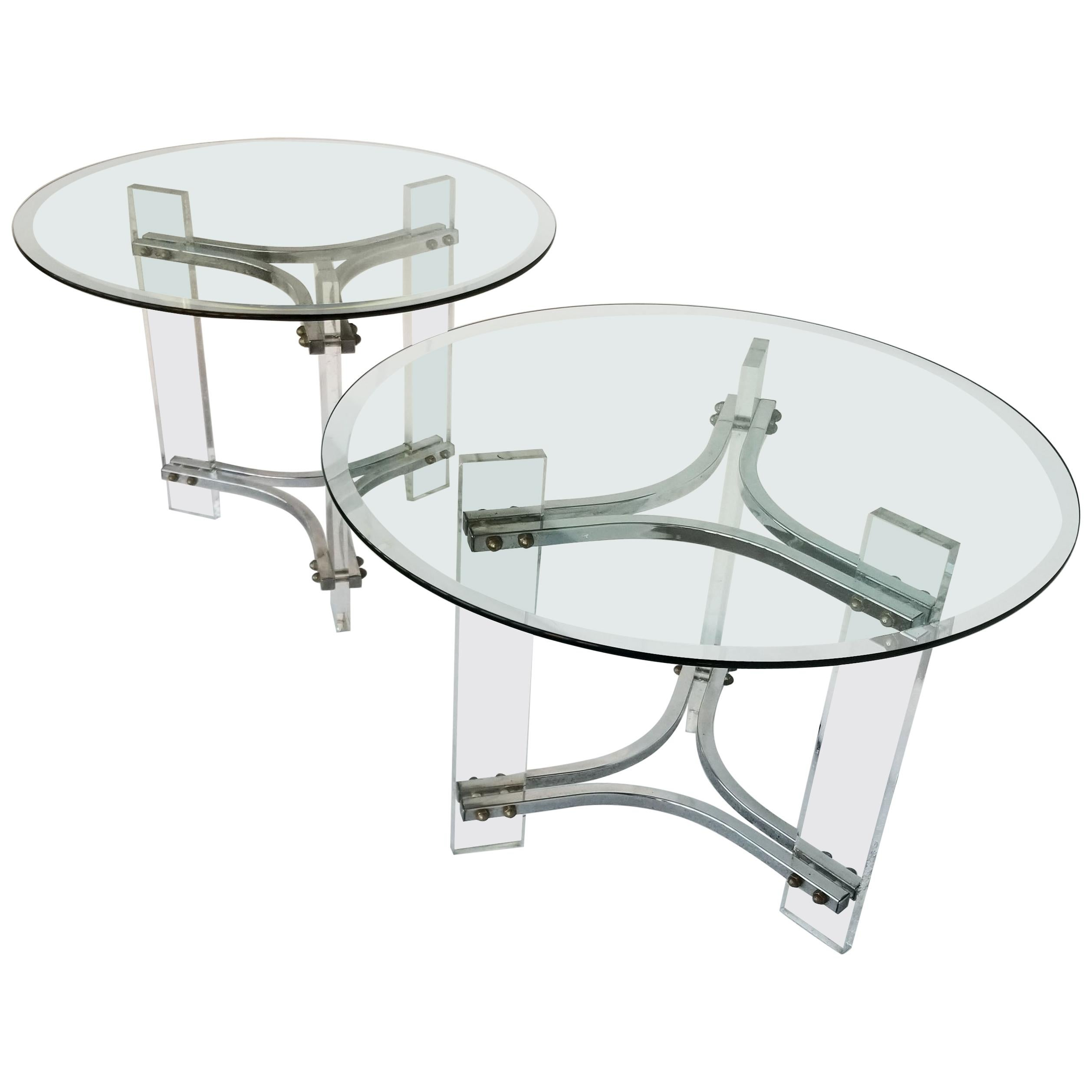 Charles Hollis Jones Style Mid-Century Modern Lucite & Chrome Side Table - Pair