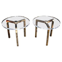 Pair of Lucite Side Tables Design by Charles Hollis Jones Signed