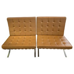Pair of Ludwig Mies van der Rohe Brown Leather Barcelona Chairs