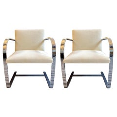 Pair of Ludwig Mies van der Rohe Flat Bar Chairs for Knoll