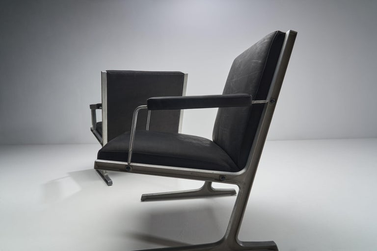 """Steel Pair of """"Lufthavns Stole"""" Chairs by Ditte Heath and Adrian Heath for Cado, Den For Sale"""