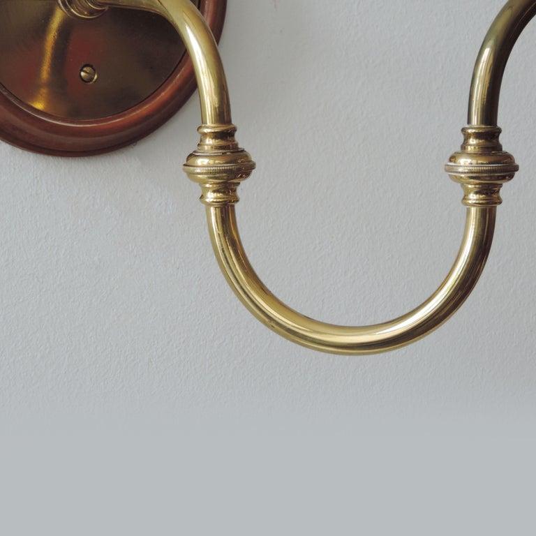 Italian Pair of Luigi Caccia Dominioni LP15 'Tromba' Brass Wall Lamps for Azucena