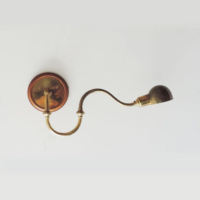 Mid-20th Century Pair of Luigi Caccia Dominioni LP15 'Tromba' Brass Wall Lamps for Azucena