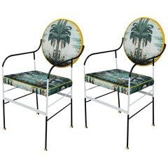 Pair of Luigina Black and White Exotic Evasion Chairs, Made in Italy