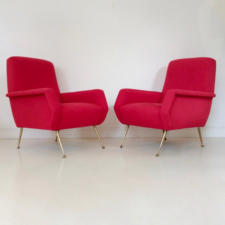Gidi Radice Pair of Luminous Red Armchairs, circa 1950, Italy For Sale 4