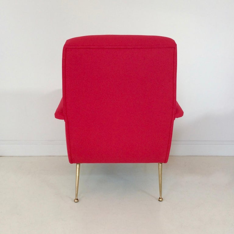 Gidi Radice Pair of Luminous Red Armchairs, circa 1950, Italy For Sale 7