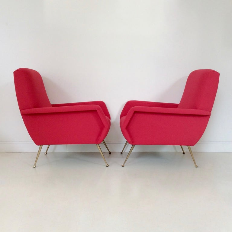 Gidi Radice Pair of Luminous Red Armchairs, circa 1950, Italy For Sale 8