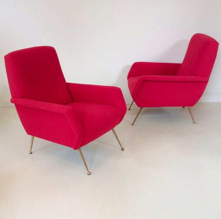 Gidi Radice Pair of Luminous Red Armchairs, circa 1950, Italy In Good Condition For Sale In Brussels, BE