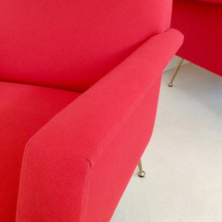 1850s Gidi Radice Pair of Luminous Red Armchairs, circa 1950, Italy For Sale