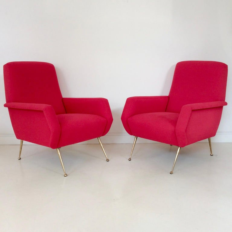 Brass Gidi Radice Pair of Luminous Red Armchairs, circa 1950, Italy For Sale