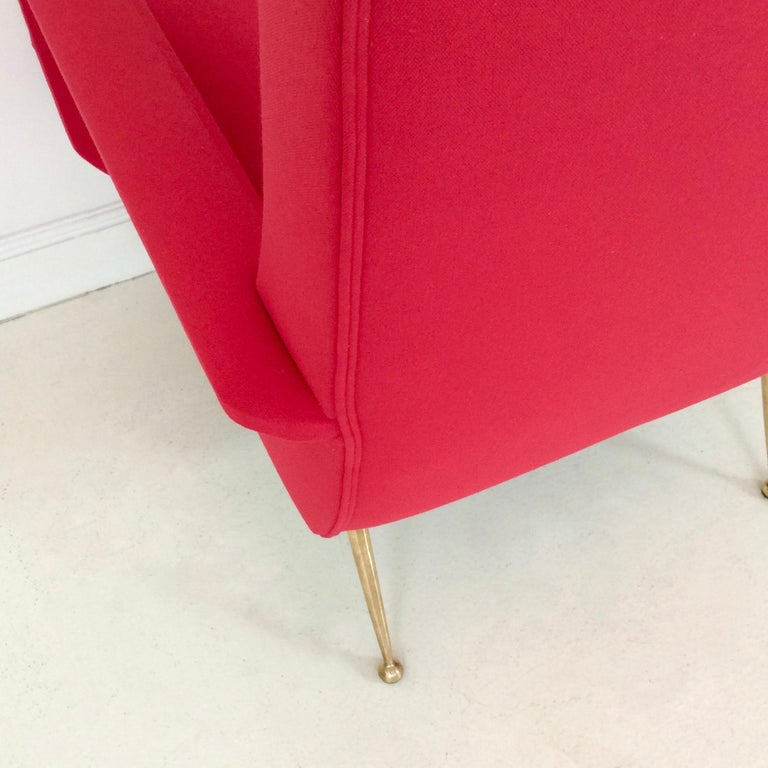 Gidi Radice Pair of Luminous Red Armchairs, circa 1950, Italy For Sale 2