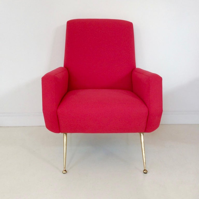 Gidi Radice Pair of Luminous Red Armchairs, circa 1950, Italy For Sale 3