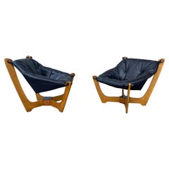Pair of Luna Black Leather Sling Chairs, Odd Knutsen Norway