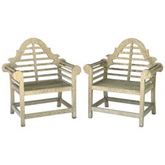 Pair of Lutyens Style Garden Chairs of Teak 'Priced Individually'
