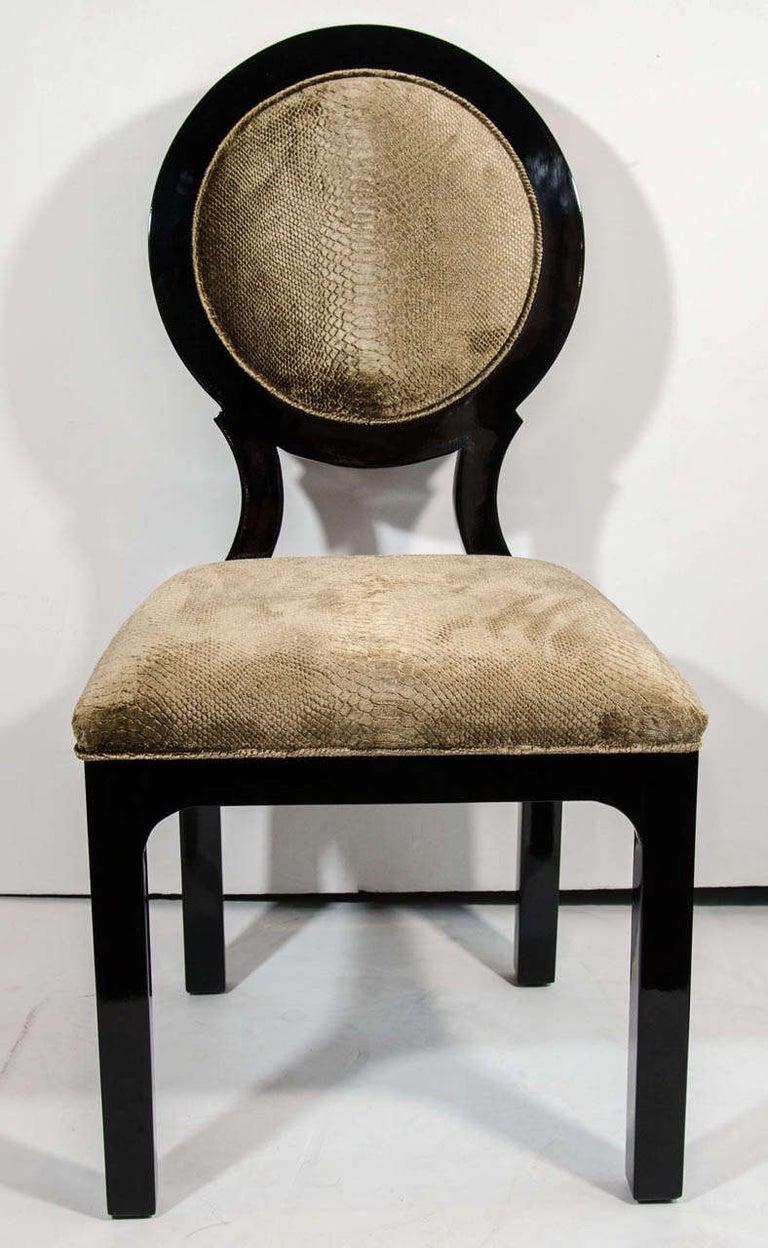 Art Deco Pair of Luxe Hollywood Regency Side Chairs in Embossed Velvet For Sale