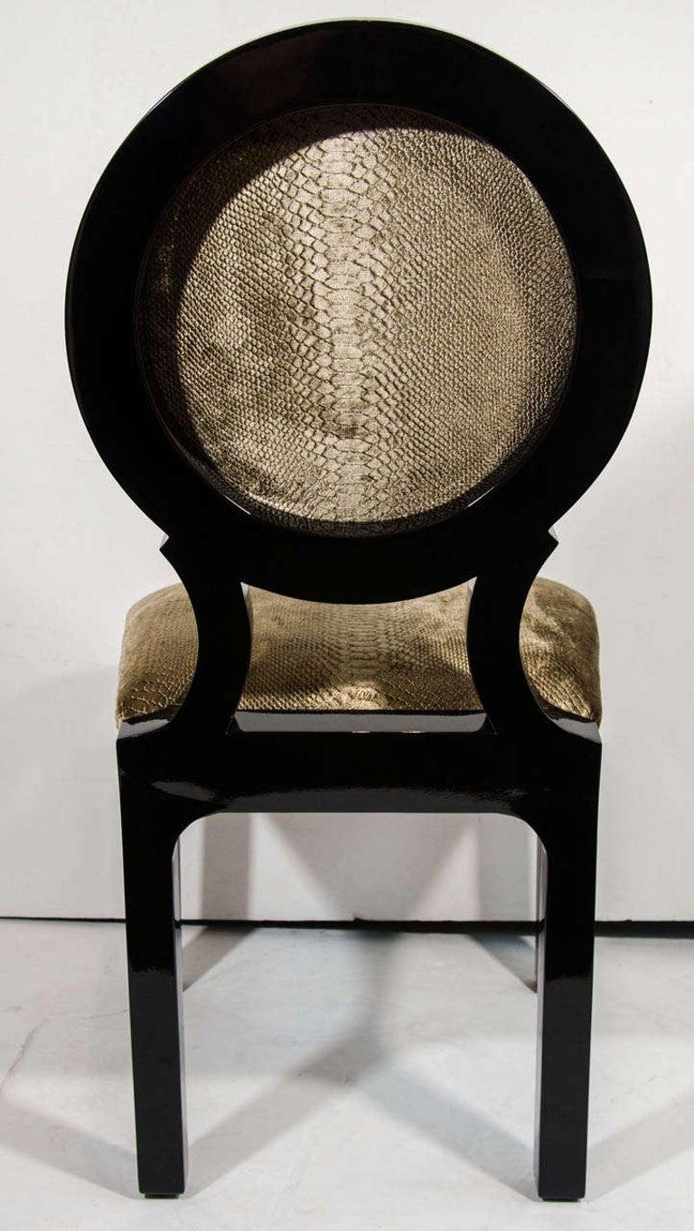 Pair of Luxe Hollywood Regency Side Chairs in Embossed Velvet For Sale 1