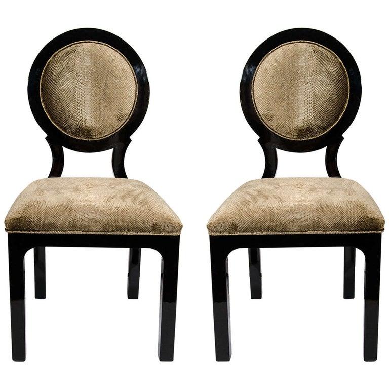 Pair of Luxe Hollywood Regency Side Chairs in Embossed Velvet For Sale