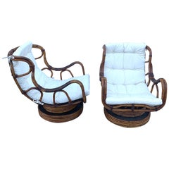 Pair of Luxe Midcentury Bamboo/ Rattan & Leather Wrapped Swivel Chairs, Restored