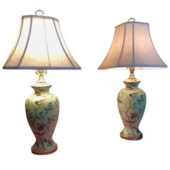Pair of Luxurious Bradburn Celadon Green Table Lamps with Birds and Foliage