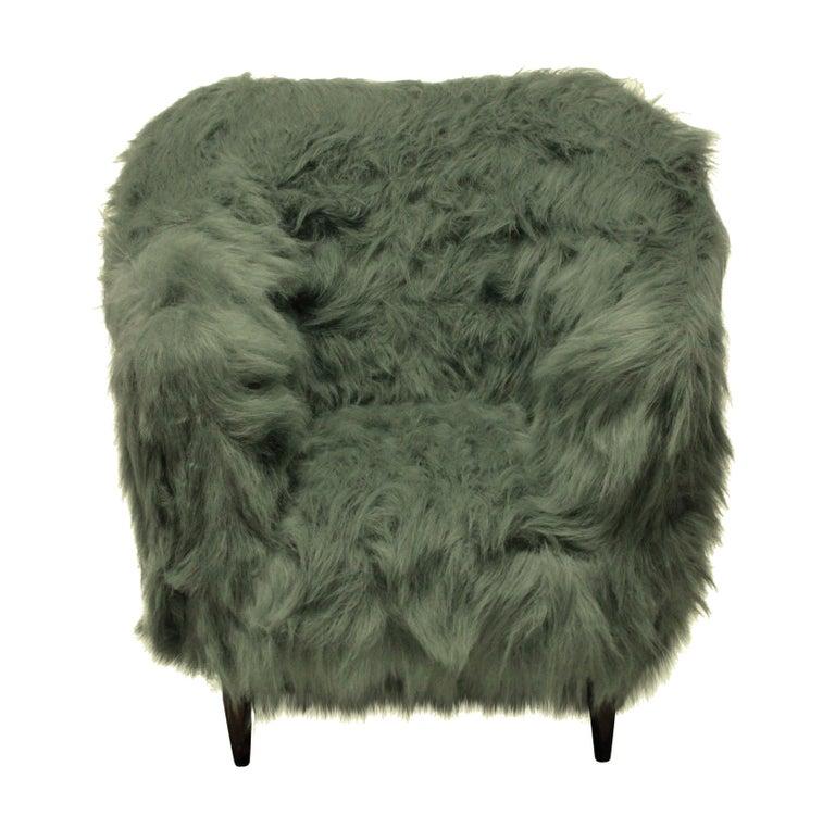 Mid-Century Modern Pair of Luxurious Midcentury Armchairs in Fur