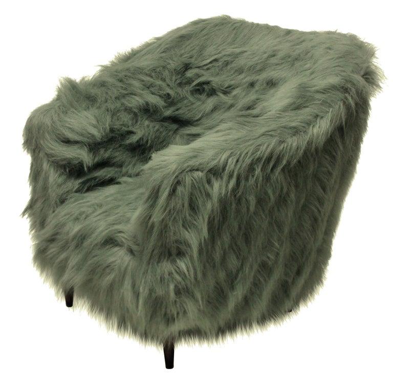 Italian Pair of Luxurious Midcentury Armchairs in Fur