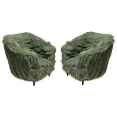 Pair of Luxurious Midcentury Armchairs in Fur