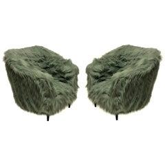 Pair of Luxurious Midcentury Armchairs in Fur